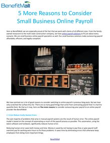 5 More Reasons to Consider Small Business Online Payroll