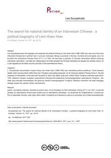 The search for national identity of an Indonesian Chinese : a political biography of Liem Koen Hian - article ; n°1 ; vol.14, pg 43-70