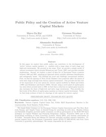 Public Policy and the Creation of Active Venture