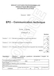 Corrige BEP PROD MECA Communication technique  2003 DECOLL