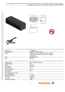 Product catalogue PCB connection systems PCB plug in connectors Pitch mm inch Plug connectors