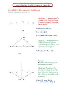 Les droites particulières d'un triangle : médiatrice et médiane