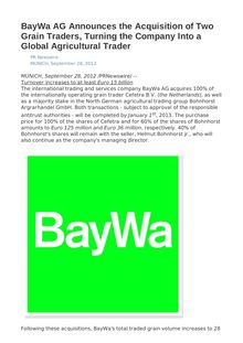 BayWa AG Announces the Acquisition of Two Grain Traders, Turning the Company Into a Global Agricultural Trader
