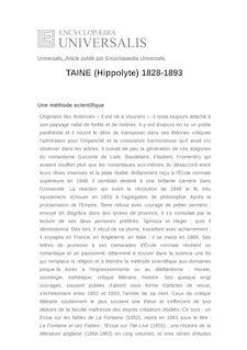TAINE (Hippolyte) 1828-1893 -