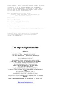 Harvard Psychological Studies, Volume 1 - Containing Sixteen Experimental Investigations from the Harvard Psychological Laboratory.