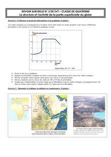 DS + correction SVT quatrième sur la structure et l'activité de la partie superficielle du globe