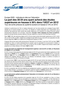 Eurostat : Europe 2020 - indicateurs clés sur l'éducation (11/04/2013)