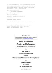 Tolstoy on Shakespeare - A Critical Essay on Shakespeare