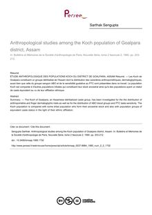 Anthropological studies among the Koch population of Goalpara district, Assam - article ; n°2 ; vol.2, pg 203-212