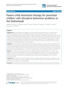 Parent–child interaction therapy for preschool children with disruptive behaviour problems in the Netherlands