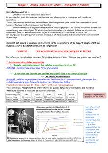 Chapitre SVT : des modifications physiologiques à l'effort