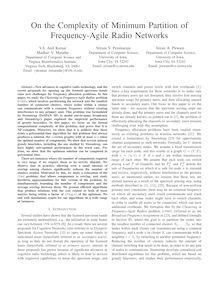 On the complexity of minimum partition of frequency agile radio
