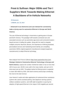 Frost & Sullivan: Major OEMs and Tier I Suppliers Work Towards Making Ethernet A Backbone of In-Vehicle Networks