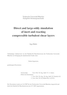 Direct and large eddy simulation of inert and reacting compressible turbulent shear layers [Elektronische Ressource] / Inga Mahle