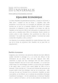 Définition de : ÉQUILIBRE ÉCONOMIQUE - Bernard GUERRIEN