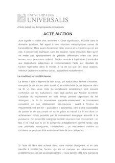 Définition de : ACTE /ACTION - Paul GILBERT