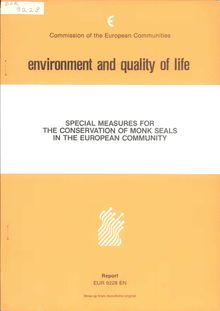 Special measures for the conservation of monk seals in the European Community