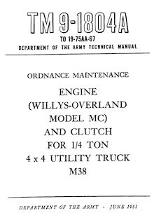 Technical Manual TM 9-1804A Engine Willys L-134