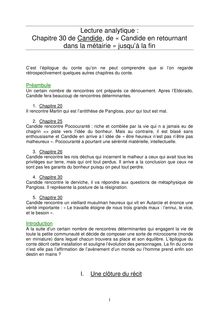 Lecture analytique de Candide sur le Chapitre 30