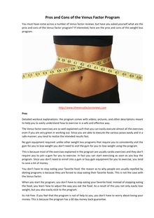 Pros and Cons of the Venus Factor Program