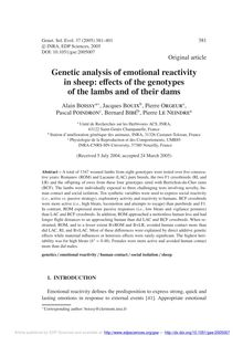 Genetic analysis of emotional reactivity in sheep: effects of the genotypes of the lambs and of their dams