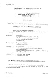 Btsasssec culture generale et expression 2007