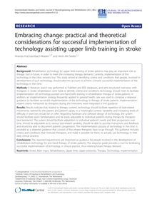 Embracing change: practical and theoretical considerations for successful implementation of technology assisting upper limb training in stroke