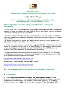 FormaVie 2011 : Alimentation humaine, une approche individuelle ...