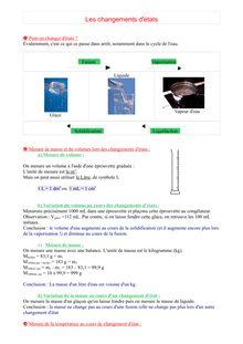 Cours de physique-chimie sur les changements d'états de l'eau - 5e