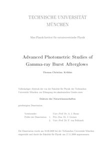 Advanced photometric studies of gamma-ray burst afterglows [Elektronische Ressource] / Thomas Christian Krühler