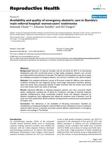 Availability and quality of emergency obstetric care in Gambia