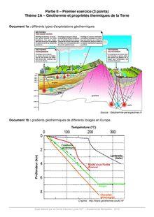 Géothermie et propriétés thermiques de la Terre - Exercice SVT Terminale