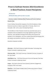 Frost & Sullivan Honors 2014 Excellence in Best Practices Award Recipients