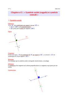 Cours sur la symétrie axiale et centrale