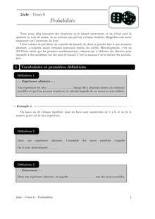 Cours et activités, Probabilités Cours 6