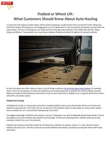 Flatbed or Wheel Lift: What Customers Should Know About Auto Hauling