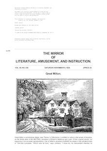 The Mirror of Literature, Amusement, and Instruction - Volume 12, No. 339, November 8, 1828