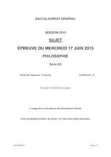 Sujet Bac 2015 - Philo ES