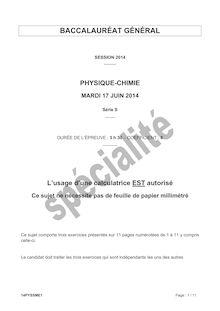 Sujet bac 2014 - Série S - Physique-chimie (spécialité)