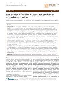Exploitation of marine bacteria for production of gold nanoparticles