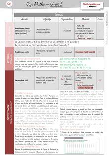 Mathématiques CE1 – Organisation des séances, exercices et leçons : Périodes 1 et 2 - Unité 5 Préparation des séances
