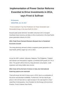 Implementation of Power Sector Reforms Essential to Drive Investments in 2014, says Frost & Sullivan