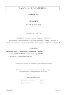 Bac 2015 - Espagnol - LV2 - ES-L-S