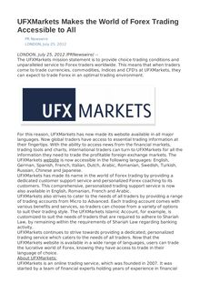 UFXMarkets Makes the World of Forex Trading Accessible to All