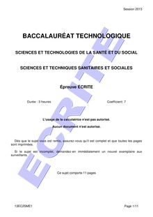 Bac 2013 ST2S STSS