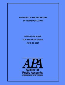 Performance Audit Report for the Agencies of the Secretary of  Transportation