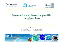 1Numerical simulation of compressible two phase flows