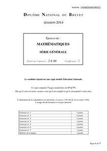 Sujet Mathématiques - Brevet 2014