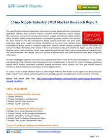 Study Report on China Nipple Industry 2013 by qyresearchreports.com
