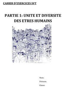 Cahier d'exercices sur l'unité et la diversité des êtres humains - SVT 3e